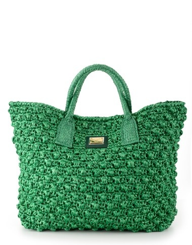 Green Raffia Shopper by Dolce & Gabbana