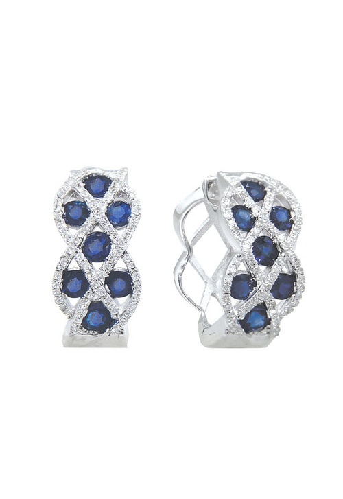 VEDI DETTAGLI QUI: Effy Gioielli Gemma blu zaffiro e diamanti Orecchini a cerchio, 2,07 TCW
