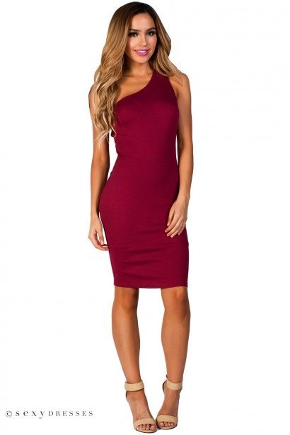 One Shoulder Burgundy Cocktail Dresses