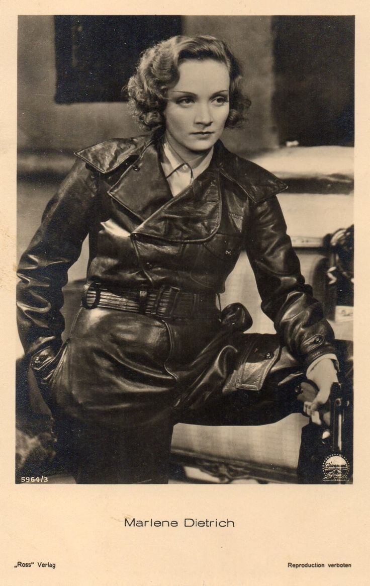 Marlene Dietrich rocking the black leather look.