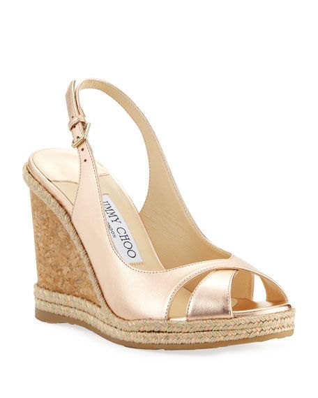 4f860a6e00 JIMMY CHOO AMELY 105MM METALLIC LEATHER CORK WEDGE SANDALS. #jimmychoo  #shoes