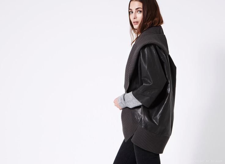 BOSROOM │ Shop trendy leather & fur clothing Bonnie knitted batwing leather jacket
