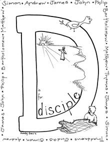 D is for Disciple coloring page (a few other letters available)