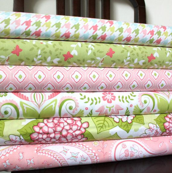 Pink and Green Floral Butterfly Fabric, Bella Butterfly for Michael Miller, Fat Quarter Bundle, 6 Prints Total. $12.67, via Etsy.