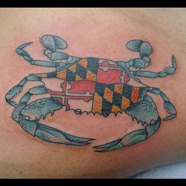 Blue Crab Maryland Flag tattoo; Greg would do this if it was a southern flag.