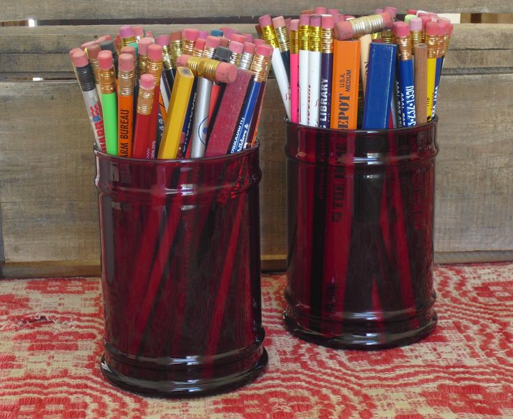 Set of 2 Ruby Red Apothecary Jars, Kitchen Storage Containers, Candle Holders…