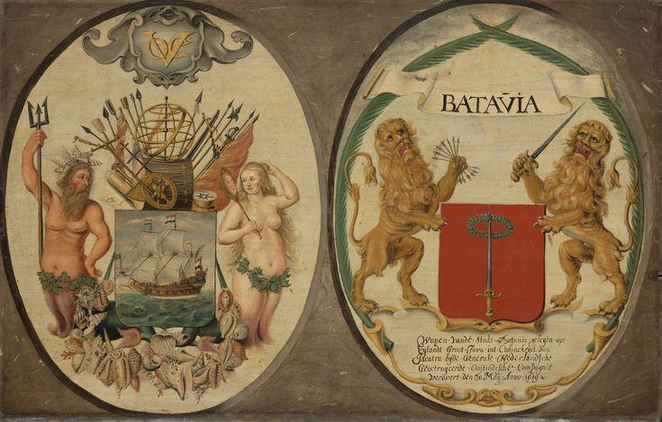 De wapens van de Verenigde Oost-Indische Compagnie en van de stad Batavia. Door…