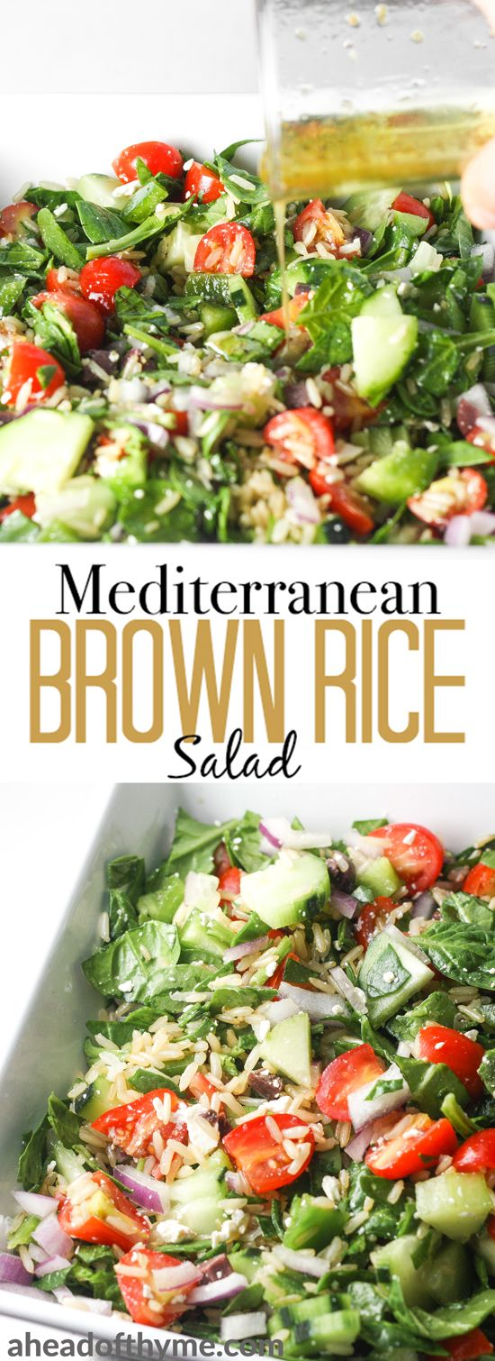 Looking for a filling, gluten-free, dish that is quick and easy to put together, and doesn't break the bank? Then you will love Mediterranean brown rice salad!   aheadofthyme.com #brownrice #glutenfree #vegetarian #ReachForRice #Sponsored via @aheadofthyme