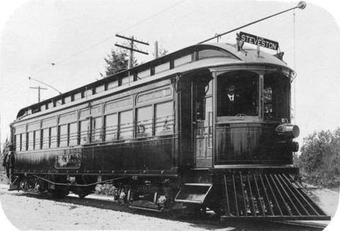 [A B.C. Electric Company interurban (Lulu Island, Eburne, Steveston) tram] - City of Vancouver Archives