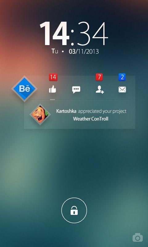 Behance notifications widget - Concept by Ilya Tsuprun, via Behance