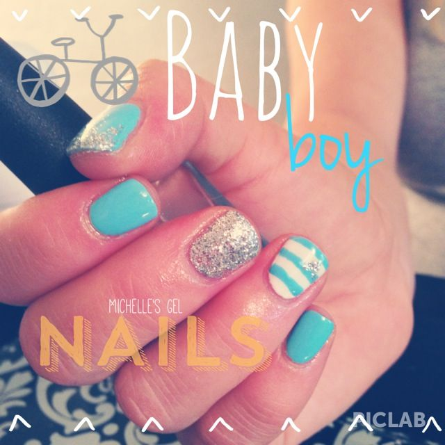 Baby boy nails, baby shower nails, blue for a boy- by Michelle's Gel Nails