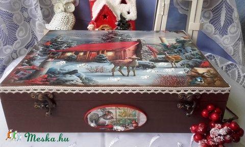 havas tájon őzike - karácsonyi nosztalgia doboz (pozsgigi) - Meska.hu