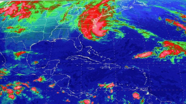 This satellite image from the National Hurricane Center in Miami shows Sandy, at 10:03 a.m., Sunday, Oct. 28, 2012