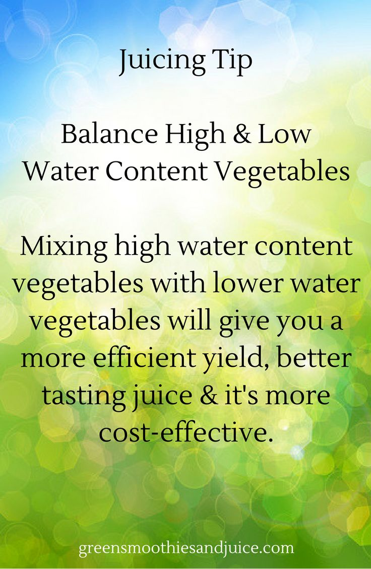 High water content vegetables include cucumber, celery zucchini, etc. Low water content vegetables include leafy greens. Mix them up for best results!   #greenjuice #juicing #healthtips