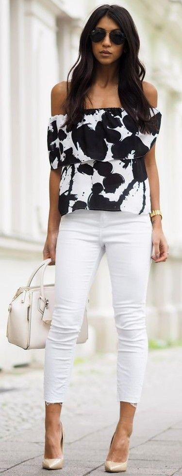 #spring #fashion | Off Shoulder Printed Top + White Denim | Not Your Standard
