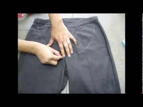 Tutorial como transformar un pantalón normal a un pantalon de embarazo - YouTube