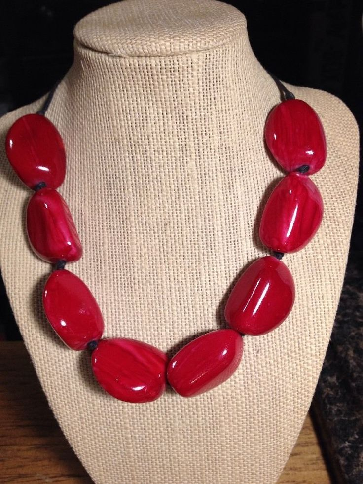 Vintage Handmade Red Chunky Bead Necklace #Handmade