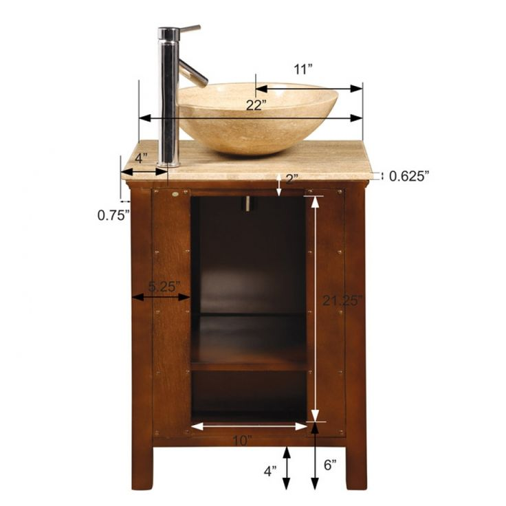22 inch small vessel sink vanity with travertine sink for Are vessel sinks still in style 2016