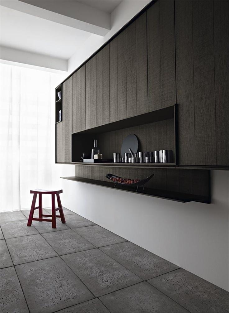 Minimalist Kitchen // Wood Recessed Kitchen With Island KALEA By CESARu2026