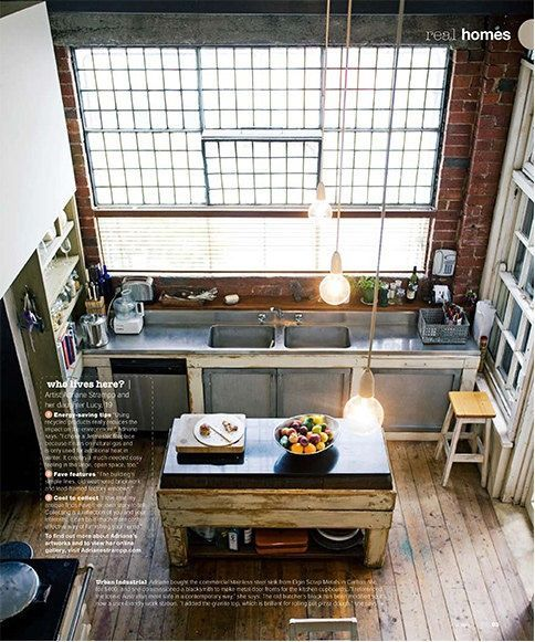 Factory loft-inspired homes are growing in popularity as more heritage buildings are being converted from concrete-floored, bricked-walled commercial properties to trendy residential homes. This look has become so popular that its influence has also spread over to townhome and single-family home designs. #Kitchen #Industrial #Loft #Design #DreamHome
