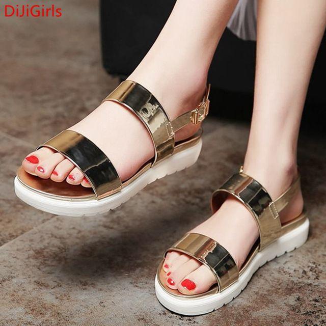 2016 New Hot Confortável Básico Mulheres Sandálias Femininas Casuais Plana Com sapatos de Plataforma Sólida Fivela Praia Chinelo Sapatos Sandalias Mujer