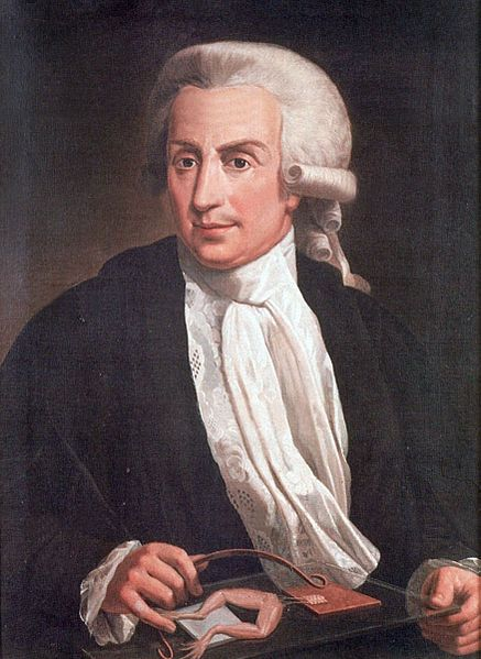 Luigi Galvani, painted with electrode and frog legs. ~ Luigi Galvani and Giovanni Aldini,  real-life scientists whose electric experiments may have inspired Dr. Frankenstein.