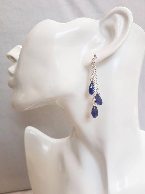 Drop style tanzanite earrings Blue stone earrings Tanzanite