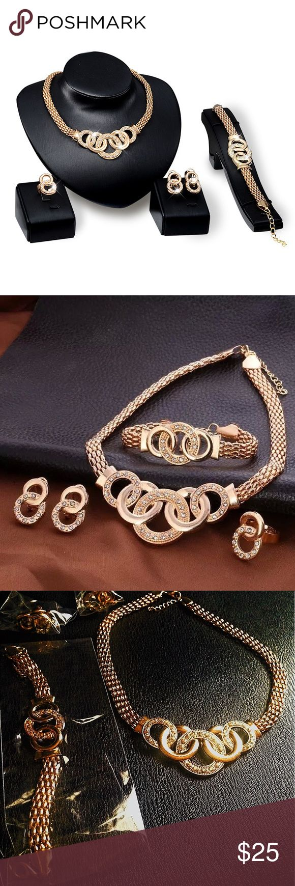 European Style Handcuff Jewelry Set ⚡️European Style Handcuff Jewelry Set.             ⚡️Necklace, Bracelet, Earrings, Ring             ⚡️Brand New Jewelry