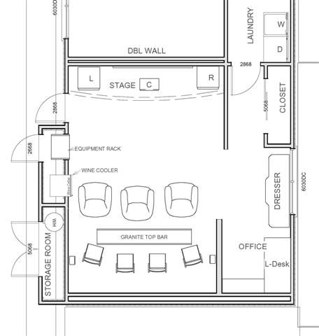 Small home theater theater floor plans over 5000 house for Game room floor plans ideas