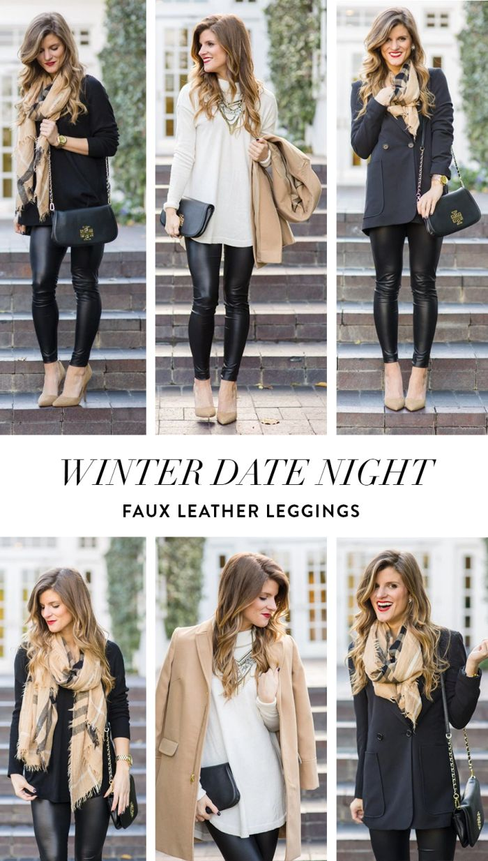 @brightonkeller // BrightonTheDay Blog // Winter Date Night Outfit Idea: faux leather leggings // leather leggings outfit ideas // date night for winter // plaid scarf outfit