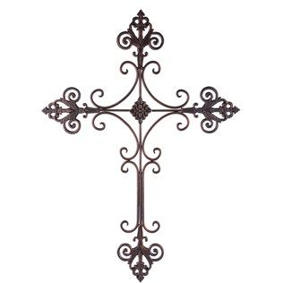 Brushed Fleur De Lis Cross Metal Wall Decor
