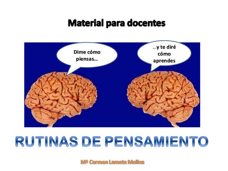 Material de orientación para facilitar la aplicación de las rutinas de pensamiento a los docentes. Mª Carmen Lamata Molina