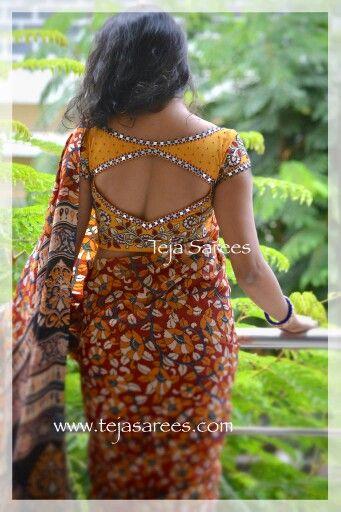 Mirror work for kalamkari saree