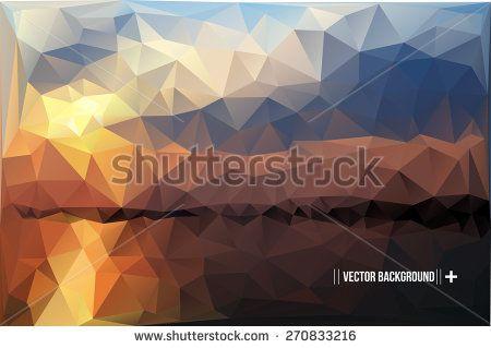 Geometric Polygonal Landscape Vector Illustration - stock vector