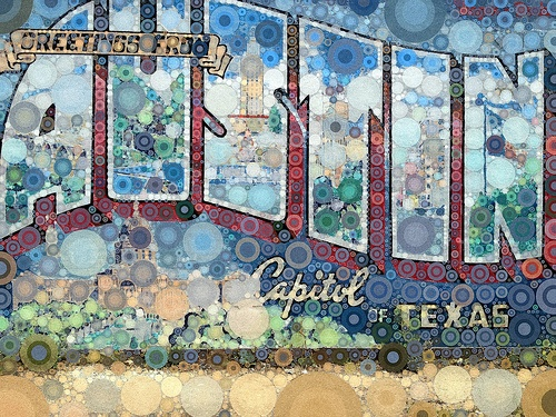 Greetings from austin capitol texas mural 54735 texas for Austin mural wall