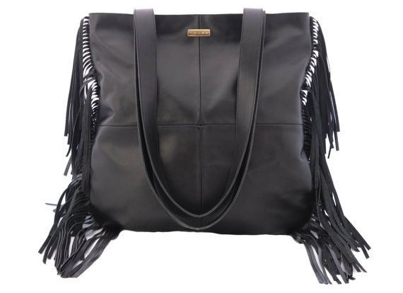 Black Leather Tote Bag, Black Leather Bag, Black Fringe Leather Tote, Black Tote, Black Leather Purse, Fringe Leather Purse