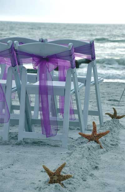 Florida beach wedding - by Suncoast Weddings - A soft purple sash and the mood is set