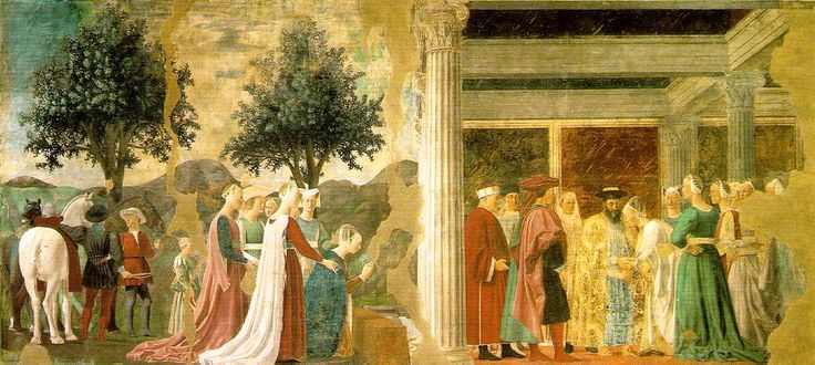 Pierro Della Francesco, The Queen of Sheba in adoration of the Wood and the Meeting of Solomon and the Queen of Sheba c. 1466 (130 Kb); Fresco, 336 x 747 cm; San Francesco, Arezzo