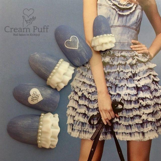 CreamPuffさんの3D,デニム,ハート,ネイビー,ブルー,ホワイトネイル♪[2102625]|ネイルブック