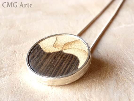 Colgante de plata y madera. Marquetería. / CMGArte - Artesanio