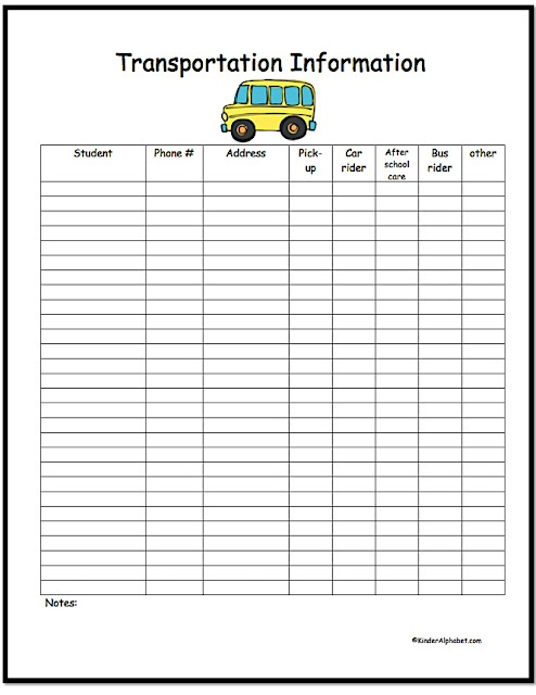 Forever in First / A form for you lesson plan binder that puts transportation info in one place