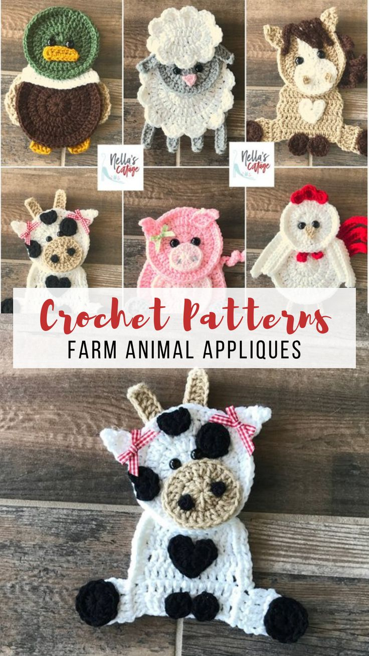 Crochet Farm Animal Applique Padrões