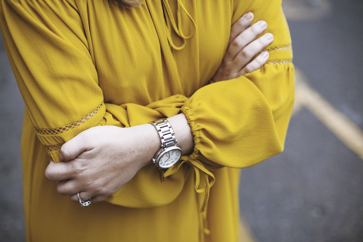 Golden Delusions  Raya Rossi Yellow dress off the shoulder Michael Kors watch bright bohemian