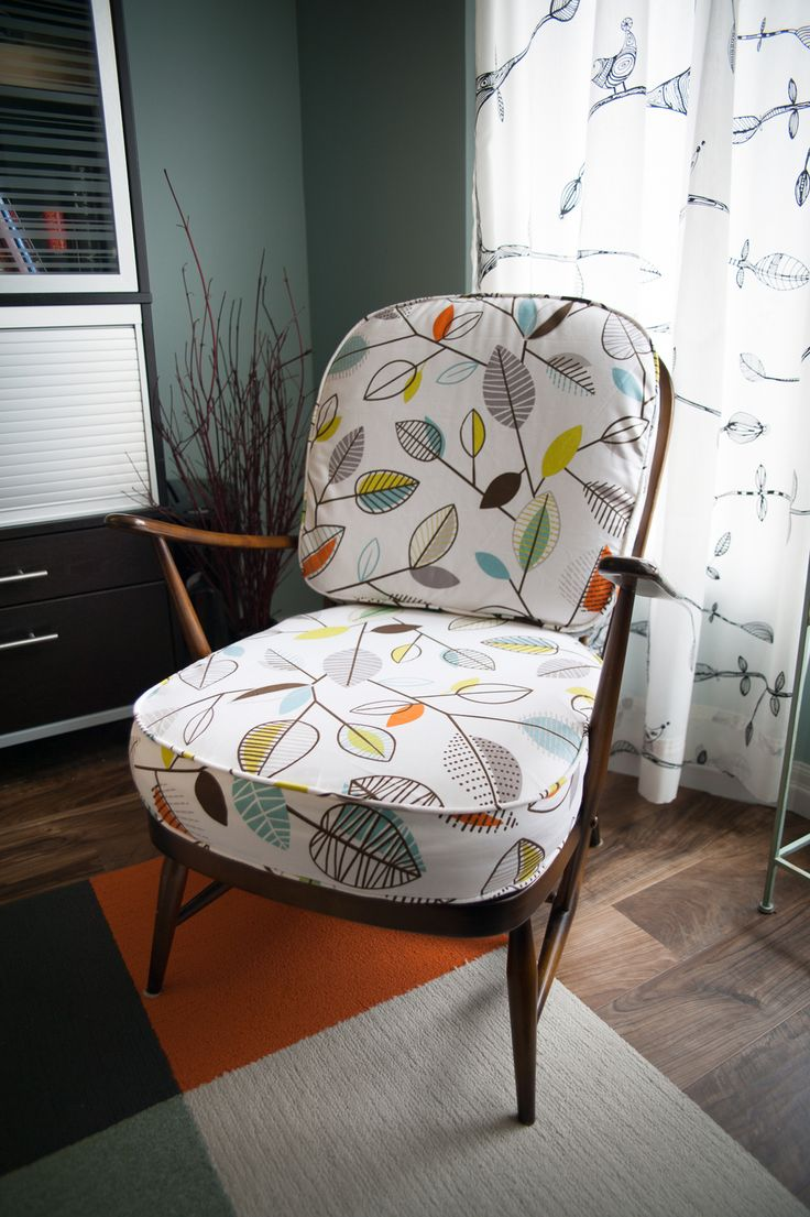 This vintage 1960's Ercol Windsor chair was given new cushion covers and in the process a new life! Check it out!