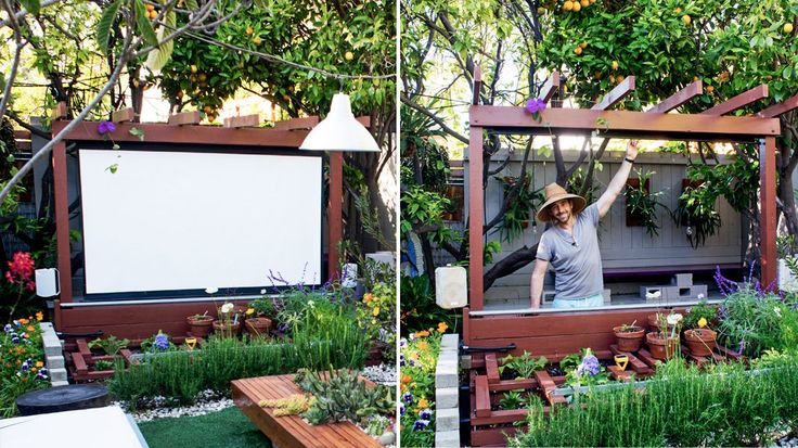 Use IKEA TUPPLUR Block-out roller blind, white Movie night under the stars, in our garden, is one of our favorite luxuries. Here's the full DIY for creating a modern outdoor theater.
