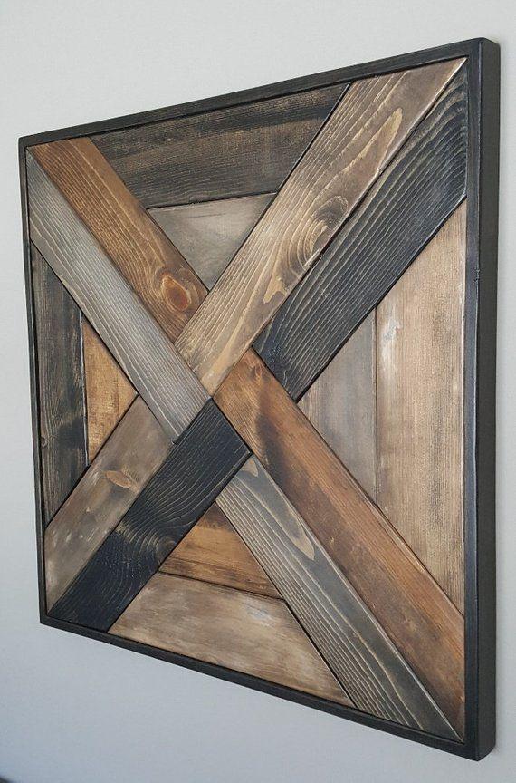 Weave Pattern Wood Wall Art Reclaimed Wood Wall Art Wood Wall