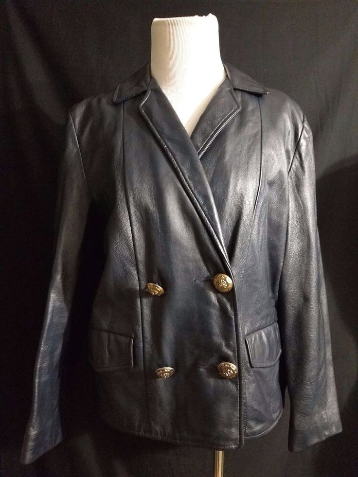 FAB 80s Vintage Double Breasted Navy Blue Short Leather Jacket Medium Gold Lion #Unknown #Everyday