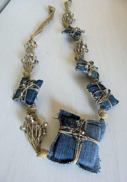 denim wrapped pieces in necklace
