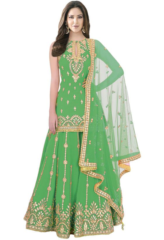 Green Silk Handwork Palazzo Kameez | DESI TIMES | Pinterest | Lehenga, Suits and Dresses