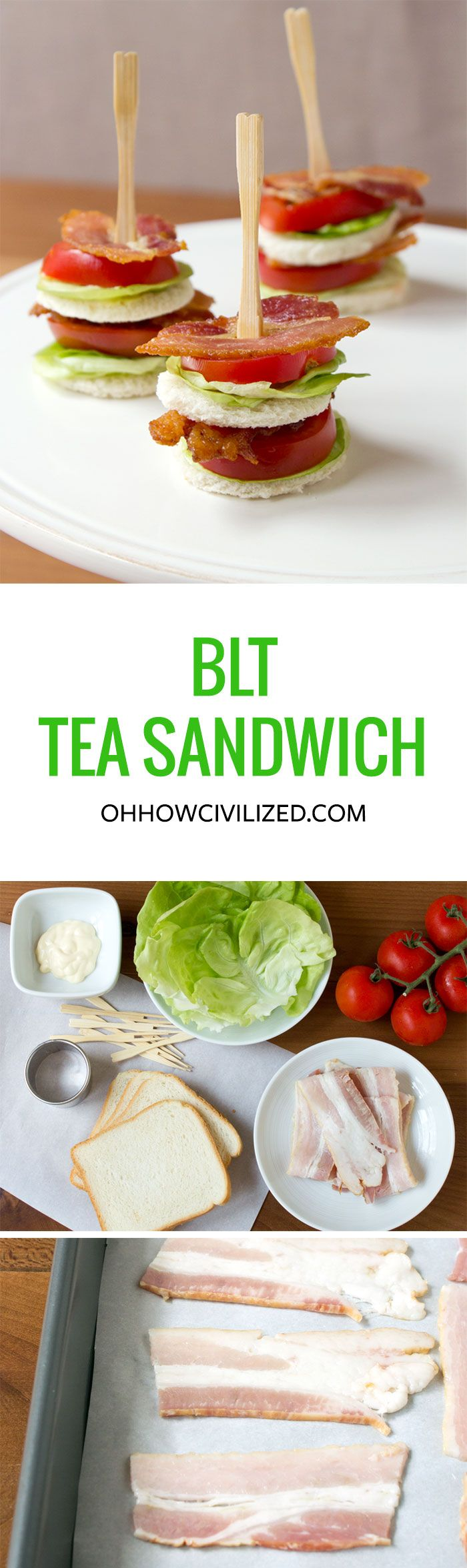 Bacon, Lettuce, & Tomato Tea Sandwich #afternoontea